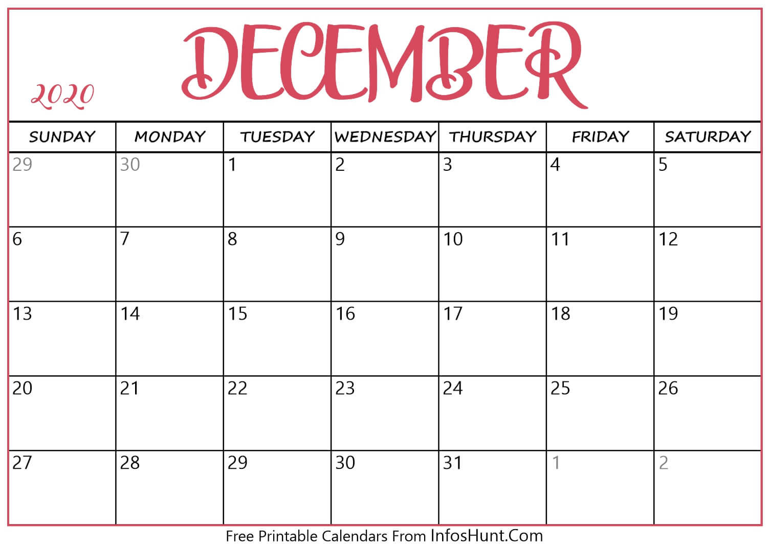 December 2020 Calendar Printable - Free Yearly & Monthly ...